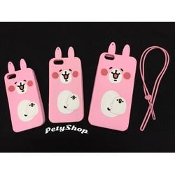 Ốp Thỏ hồng iPhone 5 5S SE 6 6S 6 Plus 6S Plus kèm dây