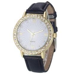 Đồng hồ nữ dây da tổng hợp hàng nhập khẩu DHD05  Đen