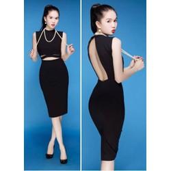 Đầm đen body cutout hở lưng sexy của Ngoc Trinh M936