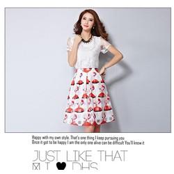 Set áo bướm nổi + chân váy cô gái - DV2443