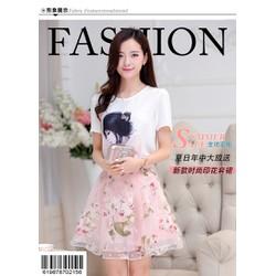 Set áo họa tiết cô gái + váy hồng GS: 245 DV2447