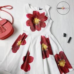 Đầm xòe hoạt tiết hoa - rain shop