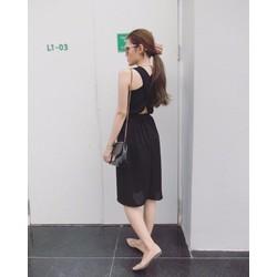 Đầm voan cột eo chéo lưng