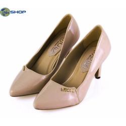 Giày Cao Gót Da Bóng Khóa Fashion Êm Bền 7cm