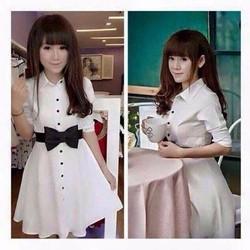 Đầm trắng thắt nơ thanh lịch