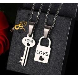 Dây chuyền cặp đôi inox ổ khóa chìa khóa - trang sức cặp đôi giá rẻ