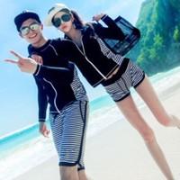 Set bikini cặp nam nữ áo dài tay kèm quần rời trẻ trung,cá tính-DB053