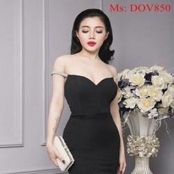 Đầm ôm cúp ngực đen 2 dây phối xinh sành điệu DOV850