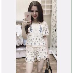 Sét áo hoa văn +Quần short xinh iu - SETKN515