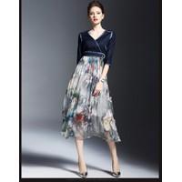 Hàng nhập cao cấp - Đầm Maxi Denim Phối Chân Váy Hoa