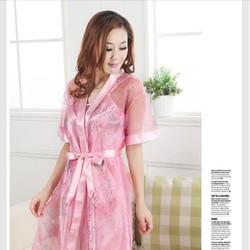 Đầm ngủ kèm áo khoác chất liệu satin, lưới cao cấp Ms105a