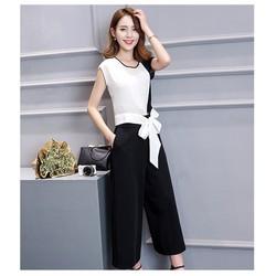 Set áo phối màu cột nơ và quần ống rộng size M, L, XL, XXL
