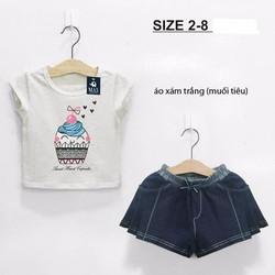 Bộ thun áo crop top in hình Cupcake phối quần váy xếp li - bảo đảm đẹp