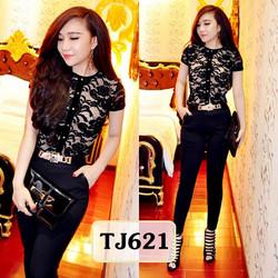 Set nguyên bộ áo ren đen quần tregging đen pha sườn TJ621
