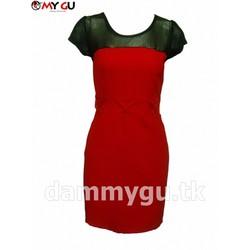 Đầm phối ren thời trang, thanh lịch D33 - Màu đỏ