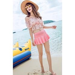 Bikini dạng váy dễ thương  kèm áo voan ngoài BKN07