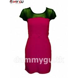 Đầm phối ren thời trang, thanh lịch D33 - Màu hồng sẫm