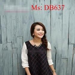 Đầm bầu hàn quốc công sở phối tay dài ô vuông sành điệu DB637