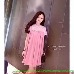 Đầm bầu thời trang hàn quốc phối ren sang trọng và thời trang DB555