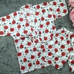 Bộ đồ ngủ kimono họa tiết hoa chất thô cotton mềm mịn