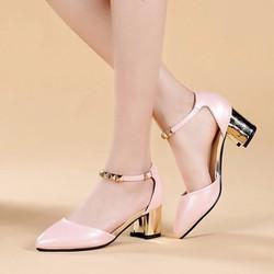 Giày cao gót bít mũi đế vuông