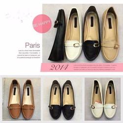 Giày mọi da nữ khóa ngang phong cách sành điệu GM114