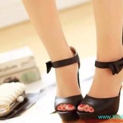 Giày cao gót hở mũi đính nơ quai hậu sành điệu GCN196