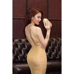 Đầm Dự Tiệc Kim Tuyến Cổ Yếm Hở Lưng
