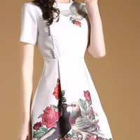Đầm xoè hoạ tiết