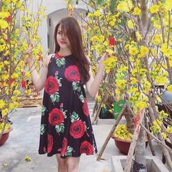 Đầm Suông Sát Nách In Hoa Hồng - Đen