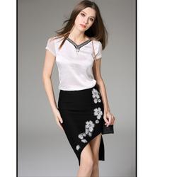 Hàng nhập_Chân váy thêu hoa đính đá siêu sang-Phong cách Hàn Quốc-Y04