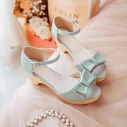Giày sandal cao gót nữ đế đúc nơ xinh - LN256