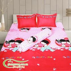 Bộ Ra Giường Cotton Xoa Nhung Cầu Hôn Drap25