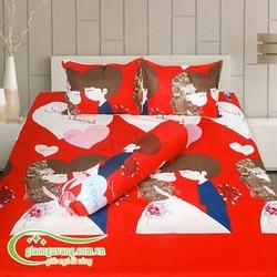 Bộ Ra Giường Cotton Xoa Nhung Tình Yêu Drap137