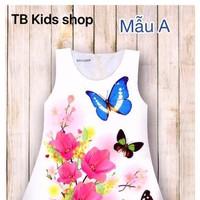 Size lớn - Đầm chữ A in bướm