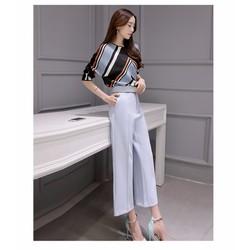 SET ÁO HỌA TIẾT + QUẦN ỐNG RỘNG KÈM NỊT – HR160273