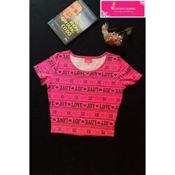 Áo croptop pink love