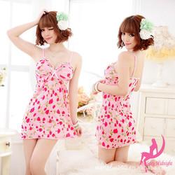 Đầm Ngủ Họa Tiết Hồng Hàn Quốc Dễ Thương M609