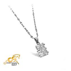 Dây chuyền inox nữ mặt chữ nhật đá vuông - trang sức inox đẹp giá rẻ