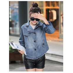 Áo khoác jeans form rộng phối nút