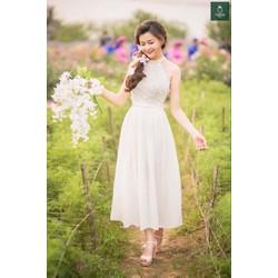 Đầm Maxi cổ yếm thắt bím eo y hình hàng cực đẹp