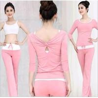 Bộ tập thể dục yoga áo tay lửng và quần dài BT676 -bộ 3 cái