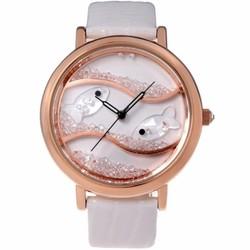 Đồng hồ nữ dây da Time100 hình cá đáng yêu