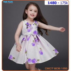 Đầm bé gái hoa tím cho ngày hè