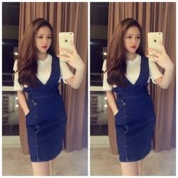 HÀNG NHẬP CAO CẤP - Set bộ yếm áo thun cotton trắng + Yếm jeans
