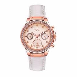 Đồng hồ nữ dây da trắng quý phái dành cho nữ