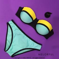 Bikini 2 mảnh cúp ngang Triangl màu xanh vàng