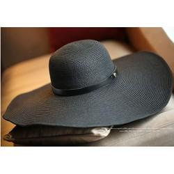 nón mũ rộng vành nữ Black gấp gọn chống tia UV thời trang cao cấp