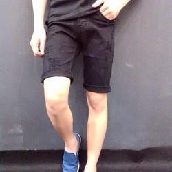 Quần short jean đen rách xước nhẹ cá tính