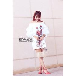 Đầm bẹt vai hoa hồng
